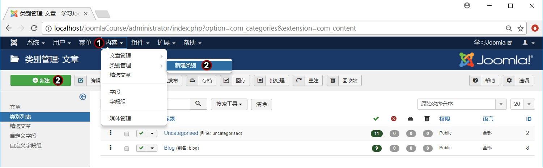 Joomla文章分类