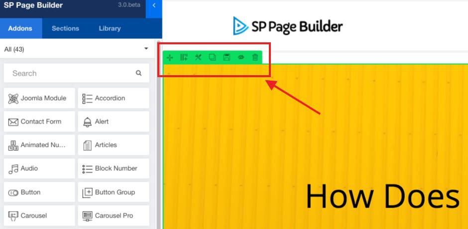 SP page Builder行编辑